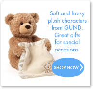 Soft and fuzzy plush characters from GUND. A special gift for a special occasion.